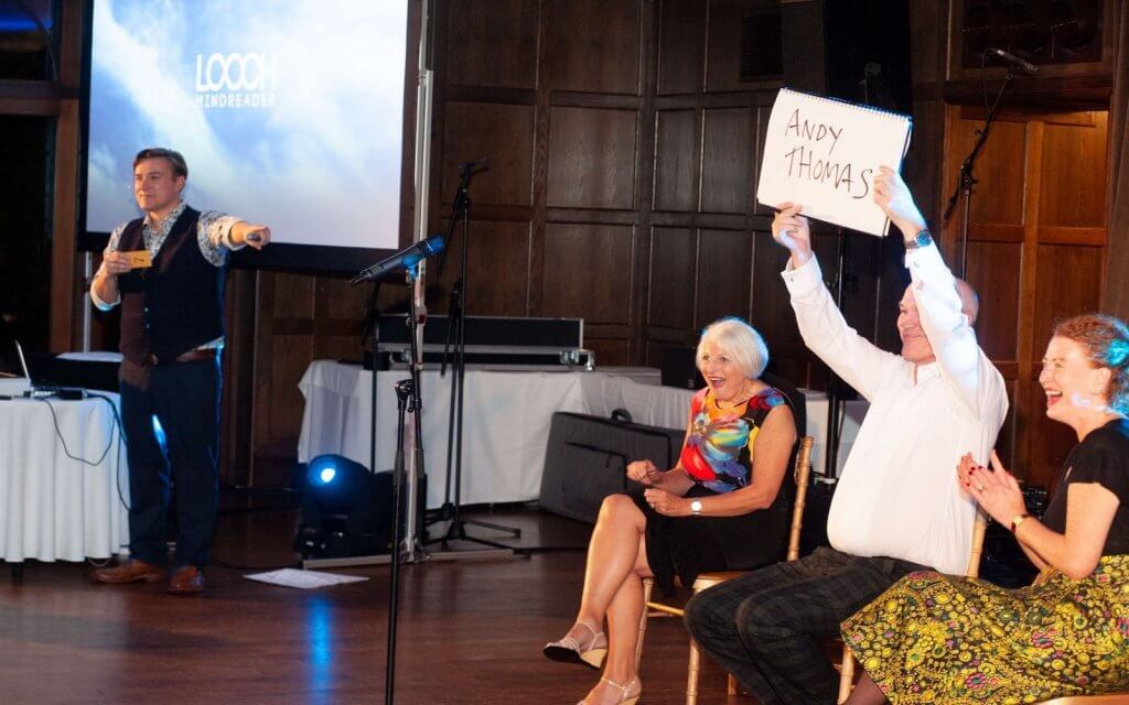 Photo showing Charity Ball entertainment in action courtesy of Looch - Mind Reader & Magician.