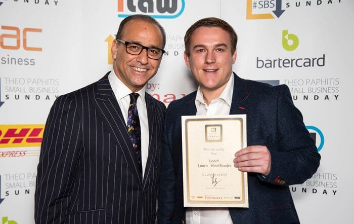 Looch receiving his award from Theo Paphitis
