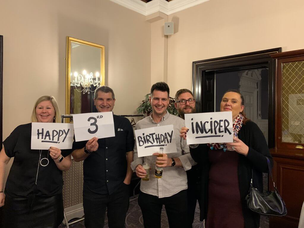 Photo showing the Inciper Ltd celebrating