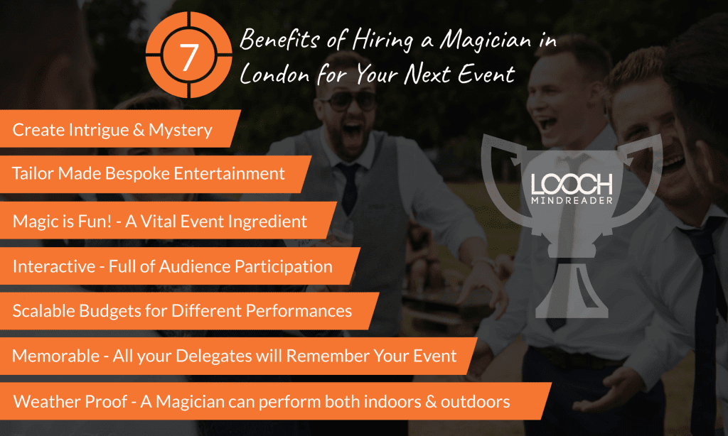 Infographic showing 7 Benefits of Hiring a Magician in London for Your Next Event